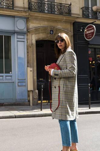 coat tumblr plaid plaid coat bag red bag jeans sunglasses