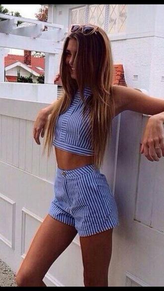 shirt blue white short top