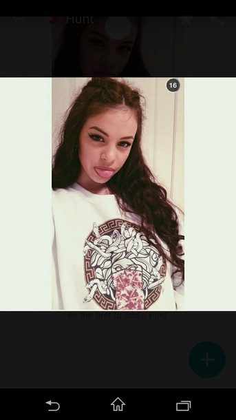 shirt versace pullover white tumblr grunge fancy cute snakes bad love