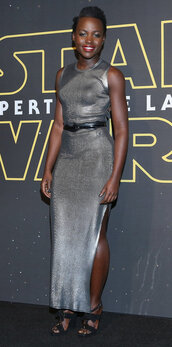 dress,bodycon dress,slit dress,maxi dress,silver,metallic,belt,sandals,lupita nyong'o,gown,star wars