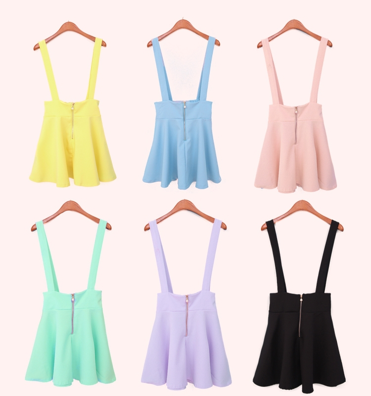 Girls Pastel Suspender Skirt Ice Cream Candy High Waist Pleated ...