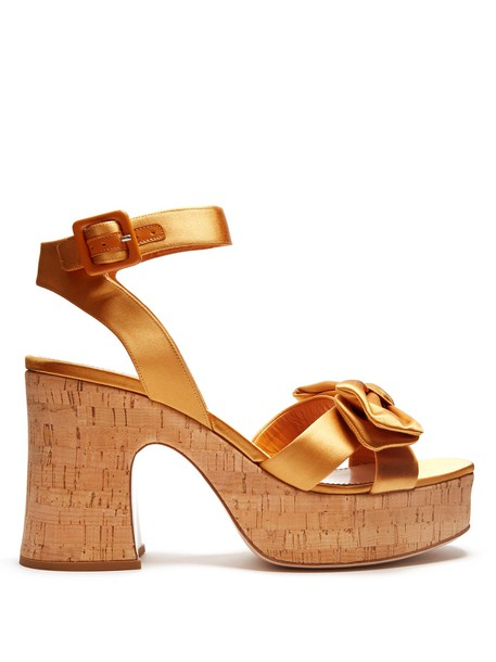 Miu Miu bow sandals platform sandals satin gold shoes