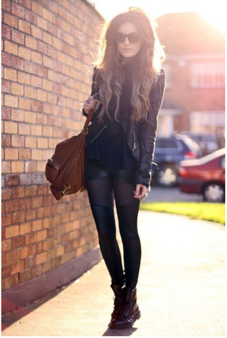 jacket perfecto all black leather jacket tights shoes wet look leggings lace-up