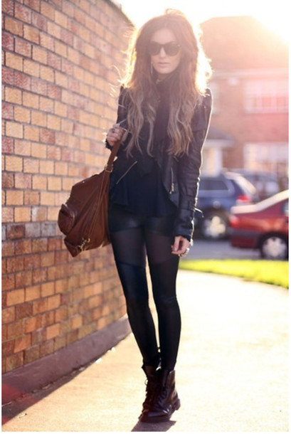 jacket all black everything leather jacket tights perfecto leggings shoes wet look leggings lace up