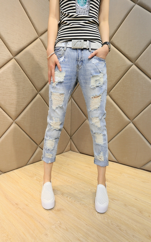 Women's Vintage Loose Boyfriend Ripped Denim Jeans