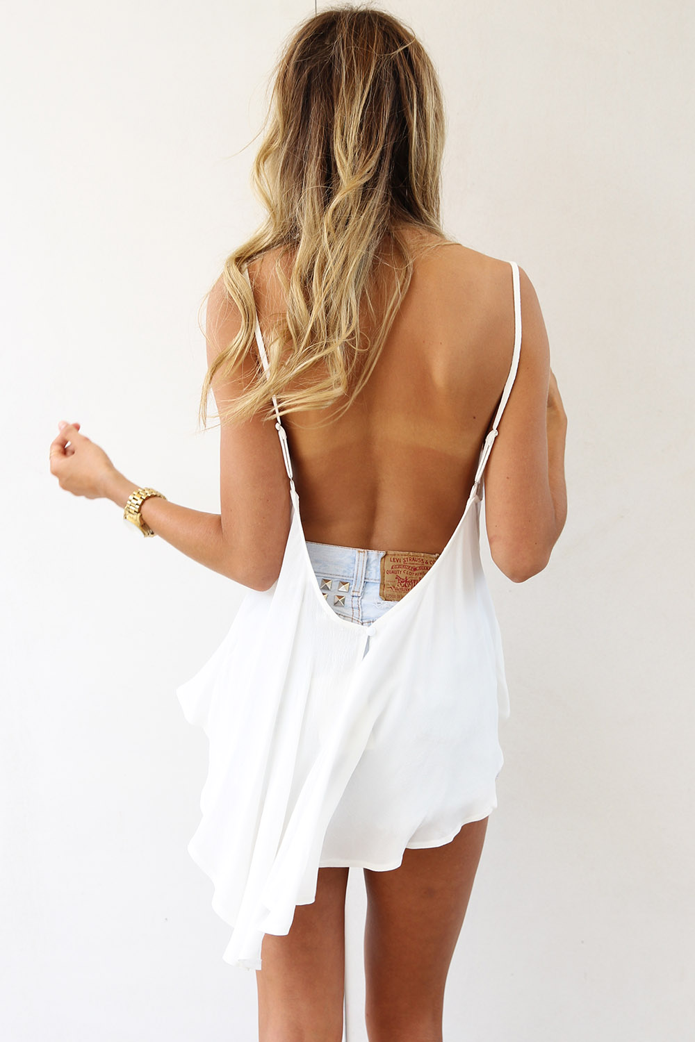 White Sleeveless Top - White Sleeveless Top with Open | UsTrendy