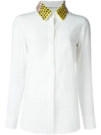 shirt collar shirt embellished white top