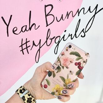 phone cover yeah bunny iphone cover transparent floral flowers