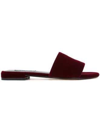 women mules leather velvet red shoes