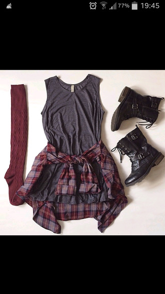 grey combat boots socks burgundy plaid fall outfits top shoes knee high socks checked shirt cool plaid shirt grunge boots tumblr outfit checkered punk rock vintage black black and white grey dress plaid flannel shirt dress