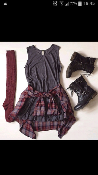 grey dress red flannel red socks boots shoes socks