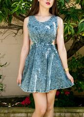 denim,dress,skater dress,acid wash,jean dress
