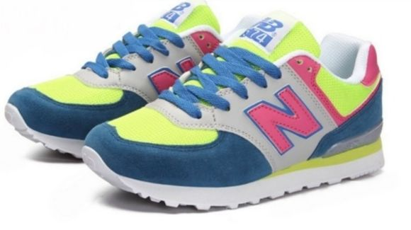 shoes sneakers blue pink new balance neon color yellow