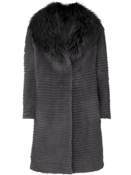 coat fur fox women grey
