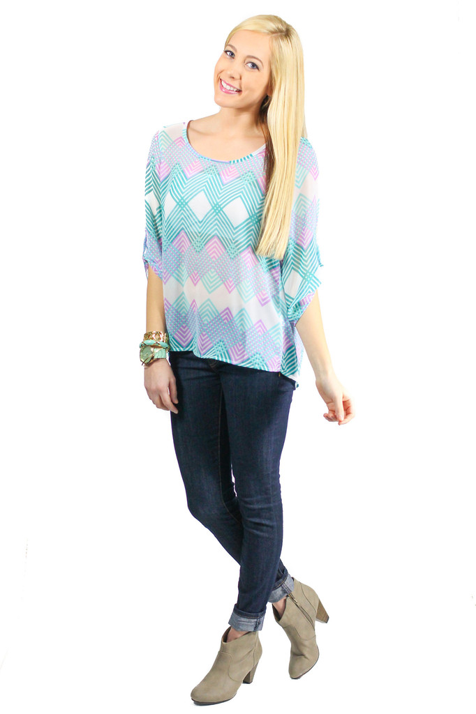 Chevron Print Blouse - uoionline.com: Women's Clothing Boutique