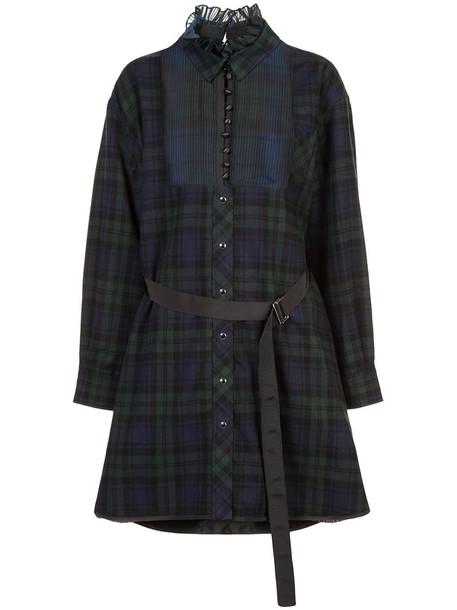Sacai dress shirt dress women cotton green