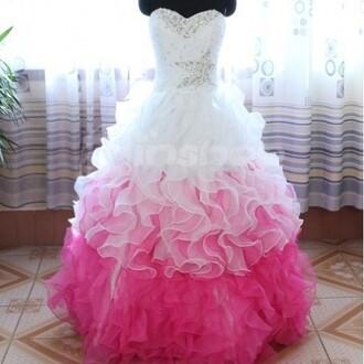 white dress pink ruffle dress prom bridesmaid