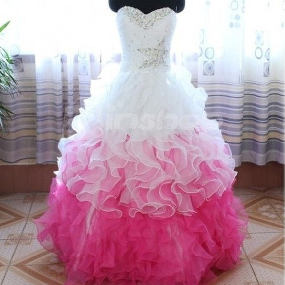 prom white dress pink ruffle dress bridesmaid