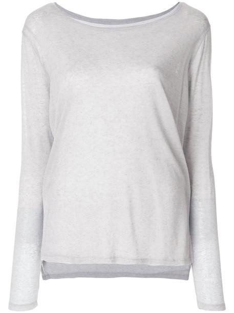Majestic Filatures jumper fine knit jumper women layered knit grey sweater