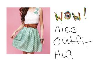 dress pock a dot skirt pock a dot bow brown belt white shirt