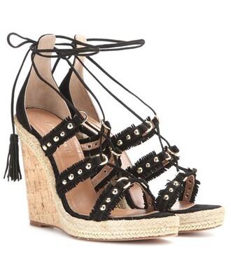 embellished espadrilles suede black shoes