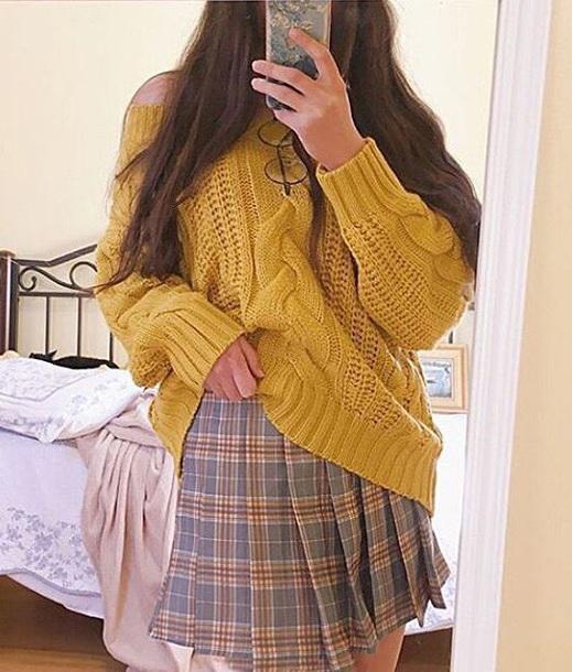 sweater girly yellow mustard mustard sweater knitwear knit knitted sweater