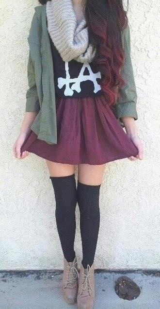 burgundy burgundy skirt maroon skirt skater skater skirt knee high socks blouse scarf black shirt la