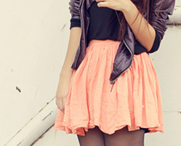 skirt salmon coat high waisted skirt leather jacket black