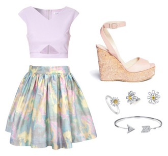 skirt pastel heels wedges green yellow blue purple pink cute sunlower bracelet rings earrings flower earings shirt shoes