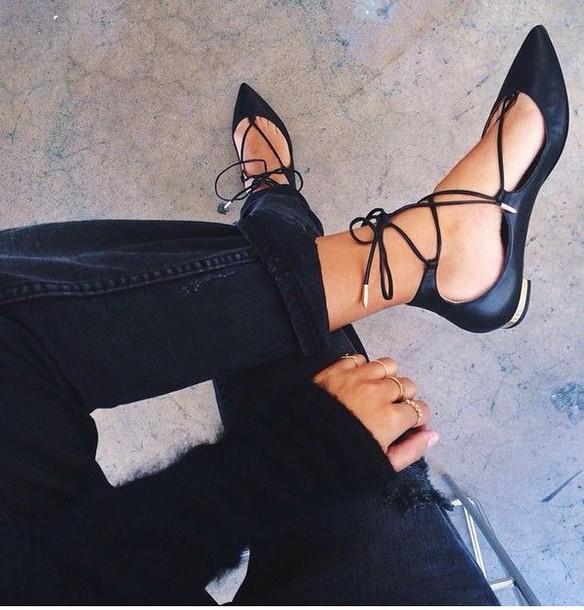 shoes black shoes cute t-straps black lace up sandal flats black flats black sandals lace up