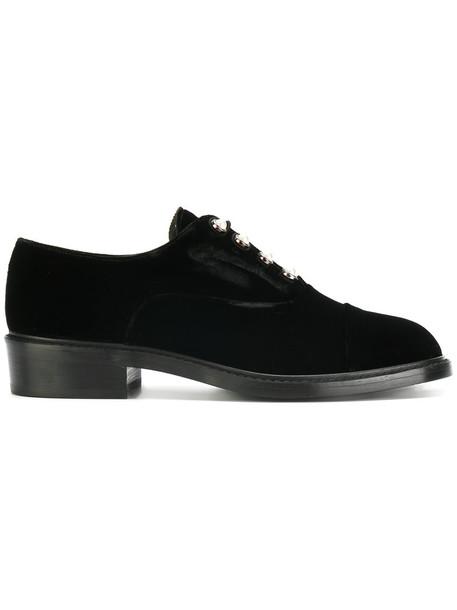 STUART WEITZMAN women pearl embellished shoes leather black velvet