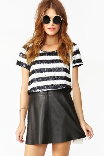 Sequin stripe crop top  in  clothes tops shirts   blouses at nasty gal