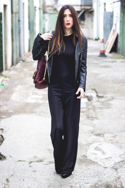 shoes and basics blogger jumpsuit perfecto wide-leg pants black jumpsuit
