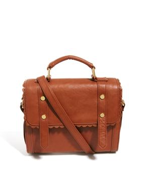 ASOS | ASOS Satchel Bag With Scallop Trim And Front Studs at ASOS