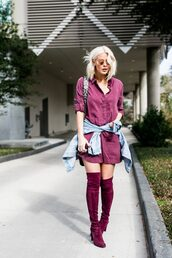 the courtney kerr,blogger,dress,jacket,shoes,bag,sunglasses,jewels,shirt dress,boots,thigh high boots,burgundy
