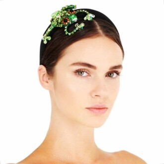 hair accessory swarovski jewelry green headband crystal frog