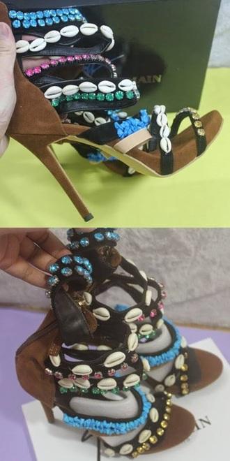 shoes heels giuseppe zanotti brown blue summer shoes