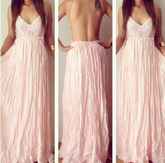 dress lace white maxi backless dress