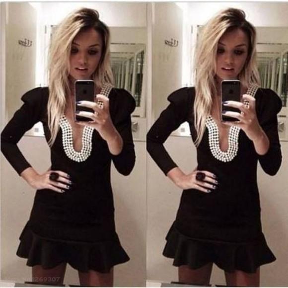 pearl black nail long-sleeved halter dress party dress