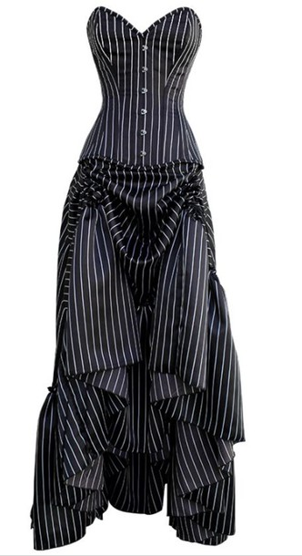 Stripes Pinstripe Dress Black White Pinstripes