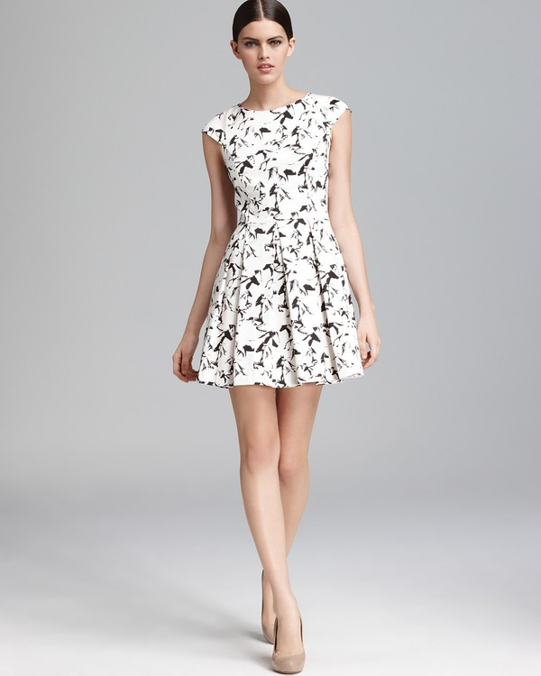 Hatched Horses Cap Sleeve Dress Old Hidden Styles French
