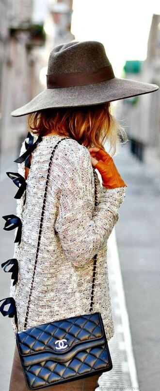 sweater hat chanel cardigan winter sweater winter swag