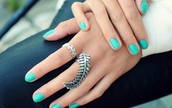 jewels,silver,leaf/design,leaves,ring,turquiose,feathers,hand jewelry