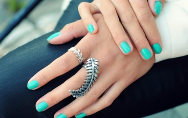 jewels silver leaf/design leaves ring turquiose feathers ring hand jewelry