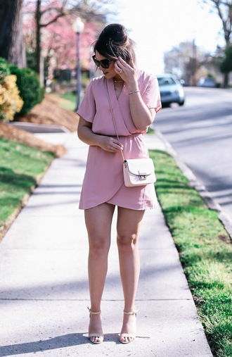 life & messy hair blogger dress jewels sunglasses bag shoes crossbody bag pink sandals high heel sandals mini dress spring outfits
