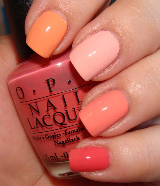 Nail Polish Nails Pastel Pink Orange Apricot Peach Nude Light Colorful Color Pattern Colors
