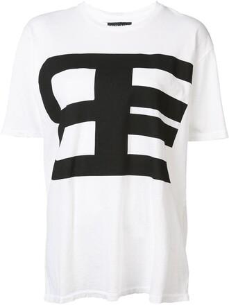 t-shirt shirt women white cotton print top