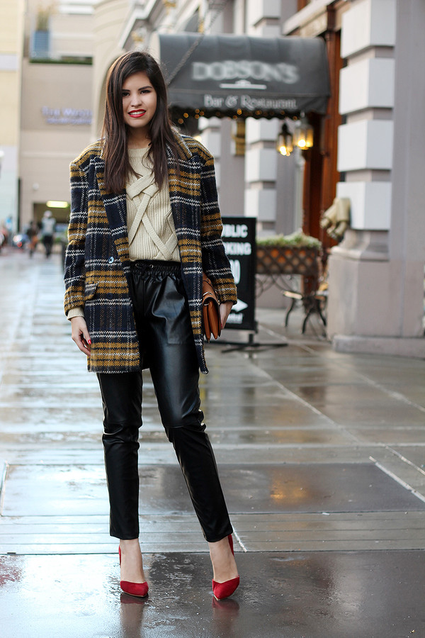 fake leather coat sweater shoes bag jewels