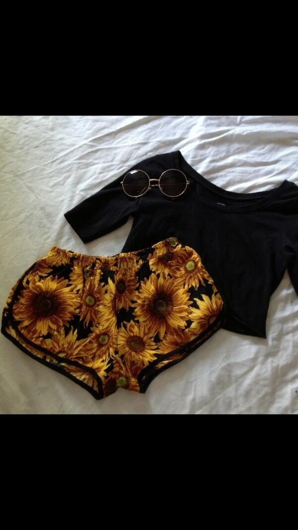 shorts sunflower flowered shorts High waisted shorts sunglasses