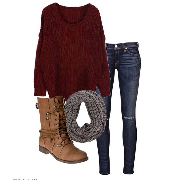 scarf boots jeans ripped jeans sweater burgendy grey combat boots shoes
